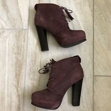 Steve Madden Sashayy Booties Tassel Ankle Boots 7.5 Leather Lace Up Wine Plum
