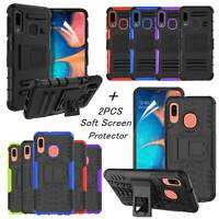 For Samsung Galaxy A10e Case Built-in Kickstand Hard Shockproof Rugged Cover