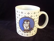 Vintage Otagiri Owl Coffee Mug Stoneware Japan Blue