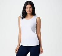 Isaac Mizrahi Essentials Pima Cotton Scoop- Neck Tank Top - Bright White - Large