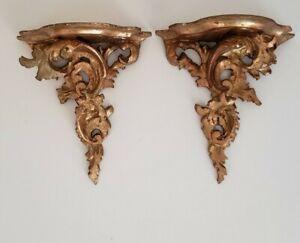 Pair Vintage Gold Ornate Florentine Wood Wall Shelves Sconce Hollywood Regency