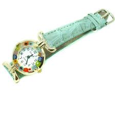 Murano Glass Watch Green Strap with Gold Trim Millefiori Quartz Venice Art