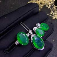 Certified Colombian Emerald Pendant Ring Earring 925 Sterling Silver Set +Chain