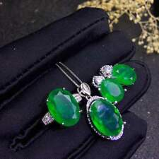 Certified Colombian Emerald Pendant Ring Earrings 925 Sterling Silver Set+Chain