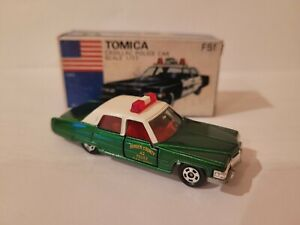 TOMICA F51 - CADILLAC POLICE CAR [GREEN] MINT VHTF BOX GOOD YELLOW LABEL JAPAN