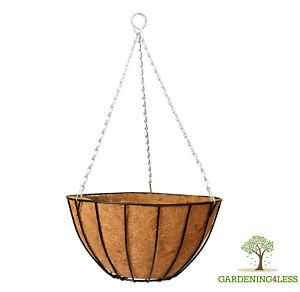 """12"""" 14"""" 16"""" Large Easy Fill Metal Hanging Basket Garden Basket Black CoCo Liner"""