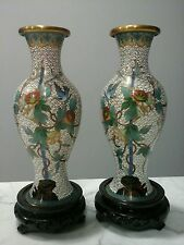 "Chinese 7"" Cloisonne Matched Pair Vase Brass Enamel & Old Wooden carved bases"