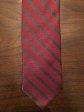 Luciano Barbera Silk Tie - Red With Charcoal Stripe - New
