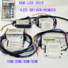 LED Diode RGB Chip+Driver+Remote Dimmer 24 Key 10W~50W COB High Power 1 Set