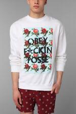 Obey Mens Fckin Posse Sweatshirt Pullover White Size XL New