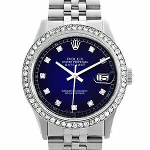 Men's Rolex Datejust 36mm Stainless Steel Watch Navy Blue Diamond Dial & Bezel