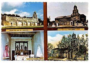 Mission San Juan Capistrano Postcard Texas St Mary's University Statues Vintage
