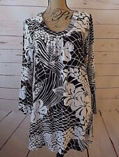 JAMS World Black & White Floral Long Bell Slv Sz Small Hawaiian Tunic Shirt NWT