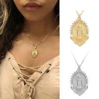 Vintage Women Virgin Mary Pendant Necklace Overlay Religious Catholic Jewellery