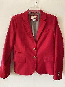 J.CREW Womens 6P Red Wool Schoolboy Blazer Brass Button