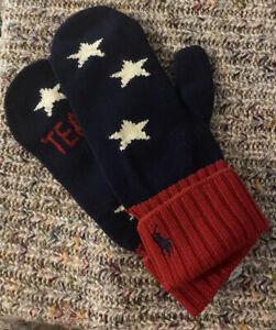 Ralph Lauren Team USA Olympic Team Wool Mittens Gloves L XL Stars Stripes NWT