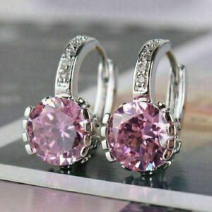 4Ct Round Cut Pink Sapphire Clip On Drop/Dangle Earrings 14K White Gold Finish