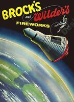 VINTAGE STYLE RETRO METAL PLAQUE ;Brook/'s Amazing  Firework/'s Ad//Sign