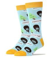 Oooh Yeah! Socks Men's Crew Socks, Happy Tree, Bob Ross, Blue/Yellow (OSFM)