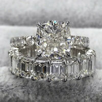 925 Sterling Silver Women's Diamond Created Wedding Engagement Two Ring Set C18