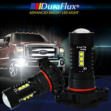 DuraFlux 2x 80W 5202 H16 White CREE LED Fog DRL Light Bulbs w/ Top Projector 12V