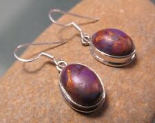 Sterling silver 14x10mm purple copper Mohave turquoise earrings. Gift Bag.
