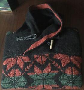 Vintage POLO Ralph Lauren HANDKNIT Rope Toggle Shawl Collar Snowflake Sweater XL
