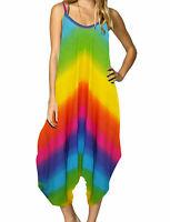 New Ladies Printed Baggy Hareem Cami Lagenlook Romper Drape Style Jumpsuit 8-26
