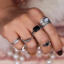 6Stk Boho Schwarz Stein Finger Ring Silber Midi über Schmucksache Ringe Neu Set