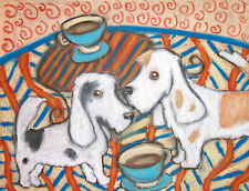 Pbgv Having Coffee Petit Basset Griffon Vendeen Art Print 8 x 10 Dog Collectible