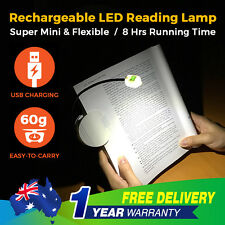Flexible LED Reading Light Clip on Clamp Portable Travel Lamp Book Rechargeable