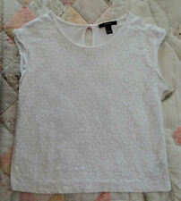 Womens Forever 21 White Lace Top Tee - Small - Perfect Condition - FREE SHIP