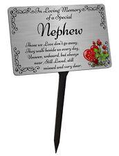 Nephew Memorial Plaque & Stake. Brushed Silver Waterproof garden grave