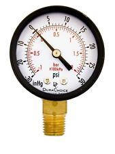 """1-1/2"""" Utility Vacuum Pressure Gauge - Blk.Steel 1/8"""" Npt Lwr Mnt -30Hg/30Psi"""
