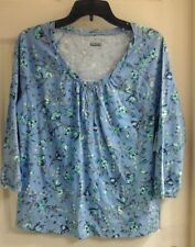Basic Editions,  Women's size small, henle blouse,  Floral,  3/4 Slv, Blue, NWT