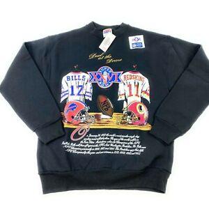 NOS VTG Nutmeg 1992 NFL Redskins vs Bills Super Bowl XXVI Sweatshirt Mens Sz L