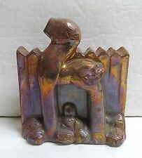 Vintage Pewabic Iridescent Tile/Bookend with Dog