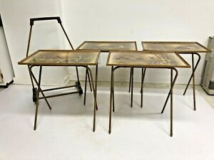 Vintage Folding Snack Table Set w Rolling Storage Stand side tv cart mid century