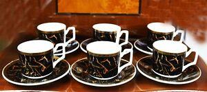 12 PCS Small Coffee Tea Ceramic Cups & Saucers & Gift Box Wedding Birthday Gift