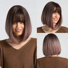 Women Hair Wigs Synthetic Brown Ombre Purple Straight Bob Cosplay With Bangs