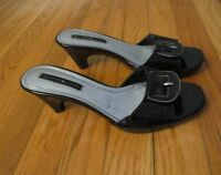 WOMEN'S BLACK PATENT LEATHER HEELS SANDALS - BANDOLINO - SIZE 7 M