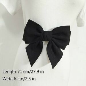Lady Faux Leather Suede Waist Belt Wide Waistband Corset Bowknot for Dress Decor