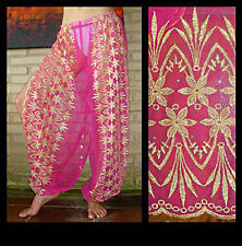 Harem Pants Belly Dance Fuchsia Pink w/ Gold Brocade Slit 10