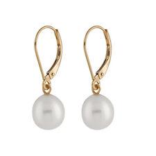 14K Lightweight leverback earrings with 7-7½mm white freshwater pearls HOF-40