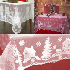 """60""""x84"""" White Christmas Table Cloth Cover Vintage Lace Tablecloth Home Party US"""