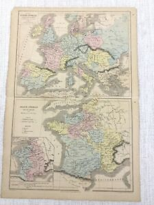 1877 Antique Map of France Feudal Europe Crusades Hand Coloured 19th Century