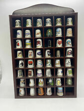 More details for collection of 47 retro ceramic & metal souvenir & commemorative thimbles & shelf