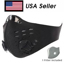 Face Mask W/ Active Carbon Filter Dual Exhale Valves Anti-droplets USA Ship SALE