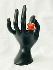 MARC by Marc Jacobs Cocktail Ring Chunky Deep Coral Resin Gold Tone size 7.5