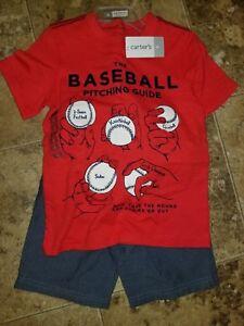 Nwt Boys Carter's 2 Piece Set Shorts T-shirt Baseball Shark Dinosaur 4 7 8